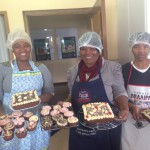 Khanyi Elize and Adelaide with cakes